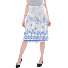 Blue And White Floral Background Midi Beach Skirt