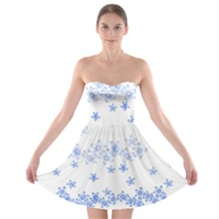 Blue And White Floral Background Strapless Bra Top Dress