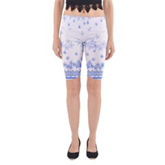 Blue And White Floral Background Yoga Cropped Leggings