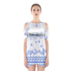 Blue And White Floral Background Shoulder Cutout One Piece