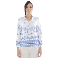 Blue And White Floral Background Wind Breaker (women)