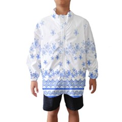 Blue And White Floral Background Wind Breaker (kids)