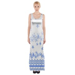 Blue And White Floral Background Maxi Thigh Split Dress