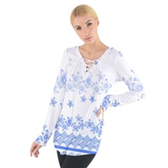 Blue And White Floral Background Women s Tie Up Tee