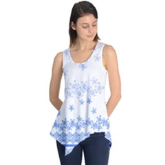 Blue And White Floral Background Sleeveless Tunic