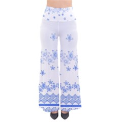 Blue And White Floral Background Pants