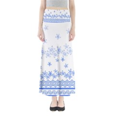 Blue And White Floral Background Maxi Skirts