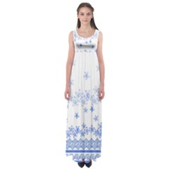 Blue And White Floral Background Empire Waist Maxi Dress