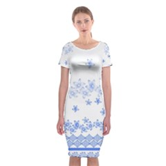 Blue And White Floral Background Classic Short Sleeve Midi Dress