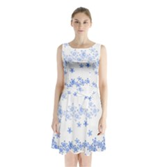 Blue And White Floral Background Sleeveless Chiffon Waist Tie Dress