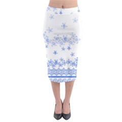 Blue And White Floral Background Midi Pencil Skirt