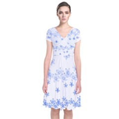 Blue And White Floral Background Short Sleeve Front Wrap Dress