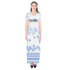 Blue And White Floral Background Short Sleeve Maxi Dress