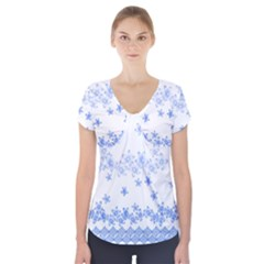 Blue And White Floral Background Short Sleeve Front Detail Top