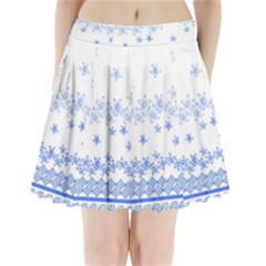 Blue And White Floral Background Pleated Mini Skirt