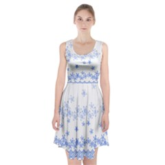 Blue And White Floral Background Racerback Midi Dress