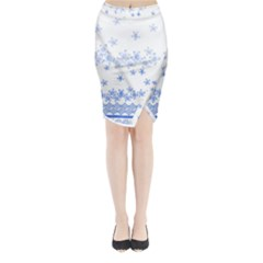 Blue And White Floral Background Midi Wrap Pencil Skirt