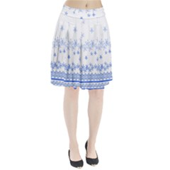 Blue And White Floral Background Pleated Skirt