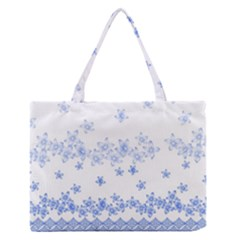 Blue And White Floral Background Medium Zipper Tote Bag