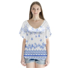 Blue And White Floral Background Flutter Sleeve Top