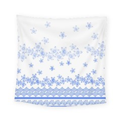 Blue And White Floral Background Square Tapestry (small)