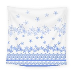 Blue And White Floral Background Square Tapestry (large)