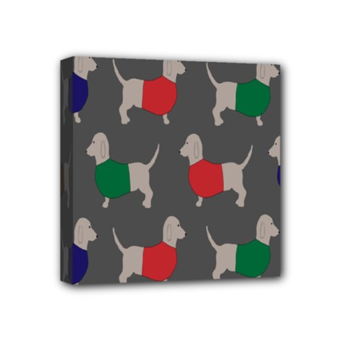 Cute Dachshund Dogs Wearing Jumpers Wallpaper Pattern Background Mini Canvas 4  X 4
