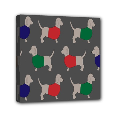 Cute Dachshund Dogs Wearing Jumpers Wallpaper Pattern Background Mini Canvas 6  X 6
