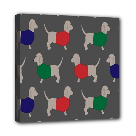 Cute Dachshund Dogs Wearing Jumpers Wallpaper Pattern Background Mini Canvas 8  X 8