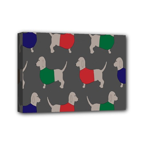 Cute Dachshund Dogs Wearing Jumpers Wallpaper Pattern Background Mini Canvas 7  X 5