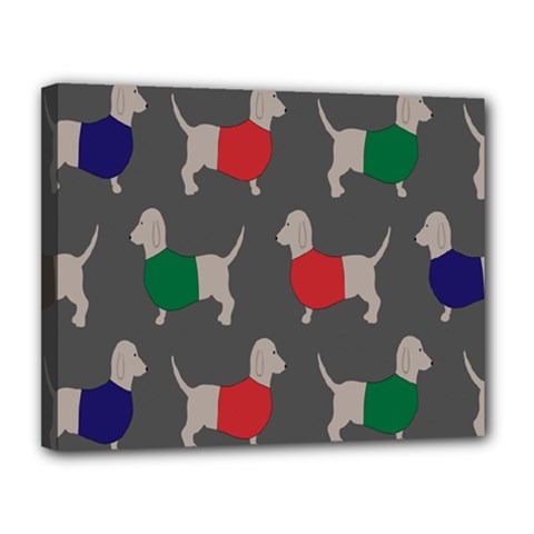 Cute Dachshund Dogs Wearing Jumpers Wallpaper Pattern Background Canvas 14  x 11