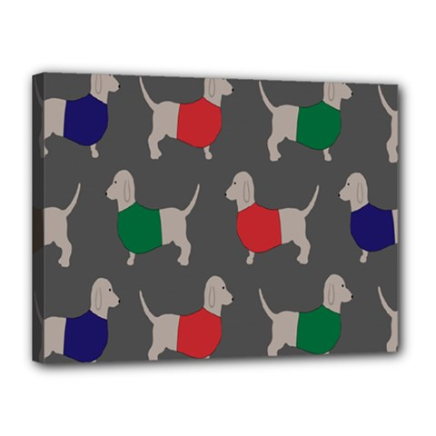 Cute Dachshund Dogs Wearing Jumpers Wallpaper Pattern Background Canvas 16  X 12