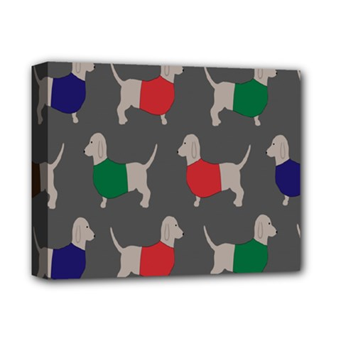 Cute Dachshund Dogs Wearing Jumpers Wallpaper Pattern Background Deluxe Canvas 14  X 11