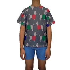 Cute Dachshund Dogs Wearing Jumpers Wallpaper Pattern Background Kids  Short Sleeve Swimwear