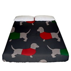Cute Dachshund Dogs Wearing Jumpers Wallpaper Pattern Background Fitted Sheet (queen Size)