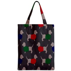 Cute Dachshund Dogs Wearing Jumpers Wallpaper Pattern Background Zipper Classic Tote Bag