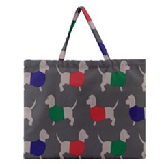 Cute Dachshund Dogs Wearing Jumpers Wallpaper Pattern Background Zipper Large Tote Bag