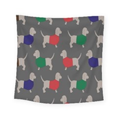 Cute Dachshund Dogs Wearing Jumpers Wallpaper Pattern Background Square Tapestry (small)