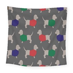 Cute Dachshund Dogs Wearing Jumpers Wallpaper Pattern Background Square Tapestry (large)