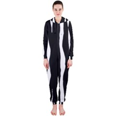 Zebra Background Pattern Hooded Jumpsuit (ladies)