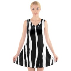 Zebra Background Pattern V Neck Sleeveless Skater Dress