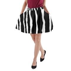 Zebra Background Pattern A Line Pocket Skirt