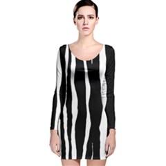 Zebra Background Pattern Long Sleeve Velvet Bodycon Dress