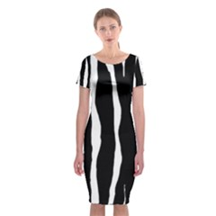 Zebra Background Pattern Classic Short Sleeve Midi Dress