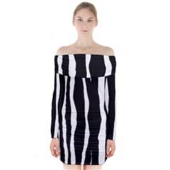Zebra Background Pattern Long Sleeve Off Shoulder Dress