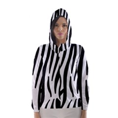 Seamless Zebra A Completely Zebra Skin Background Pattern Hooded Wind Breaker (women)