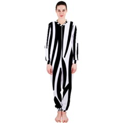 Seamless Zebra A Completely Zebra Skin Background Pattern Onepiece Jumpsuit (ladies)
