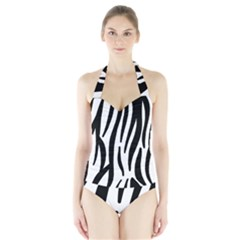 Seamless Zebra A Completely Zebra Skin Background Pattern Halter Swimsuit