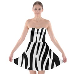 Seamless Zebra A Completely Zebra Skin Background Pattern Strapless Bra Top Dress