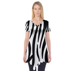 Seamless Zebra A Completely Zebra Skin Background Pattern Short Sleeve Tunic